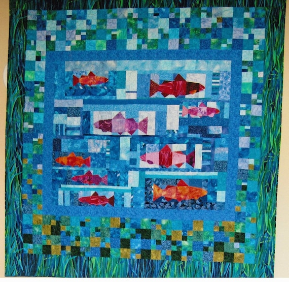 geometric patchwork sports queen quilt coverlet - Fishing Hole