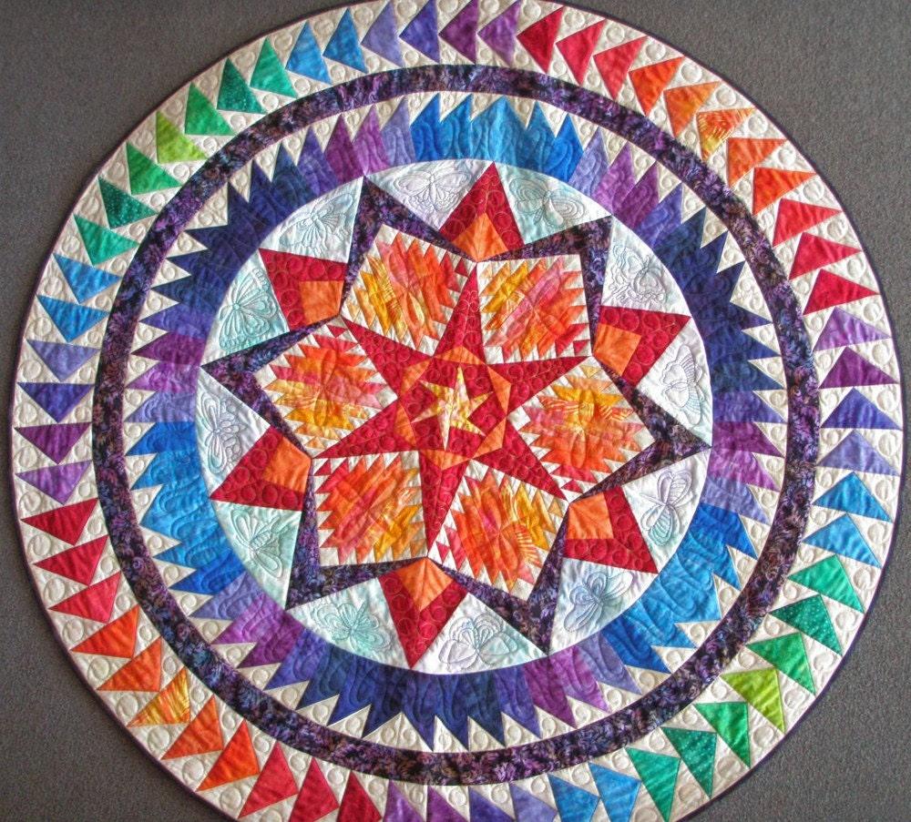 Round Quilted Handmade Batik Wall Hanging Art Quilt Aurora
