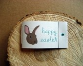 10 Mini Matchbook Notebooks - Happy Easter Bunny on light grey - party favors, gifts, gift tags