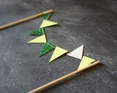 Cake Bunting - Green Party - Emerald Glitter and Lime