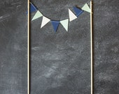 Cake Bunting - Navy and Mint - Wedding Cake Topper