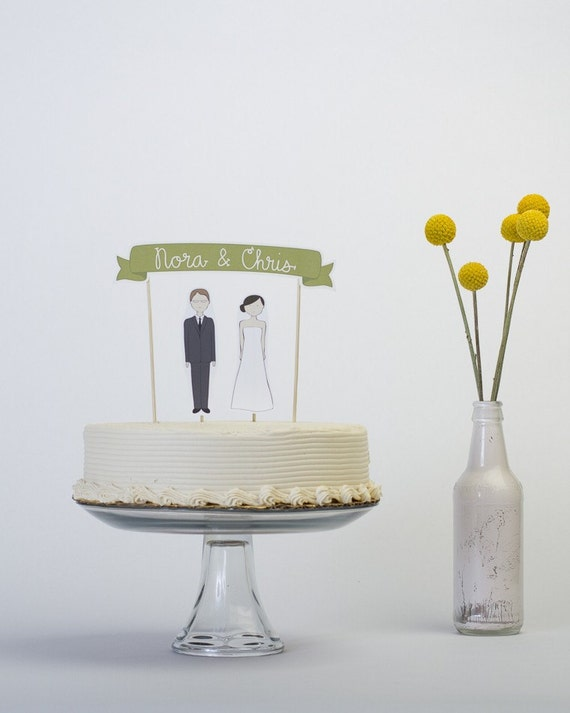RESERVED - Cake Topper Set - Custom Cake Banner No. 3 / Bride and/or Groom Cake Toppers