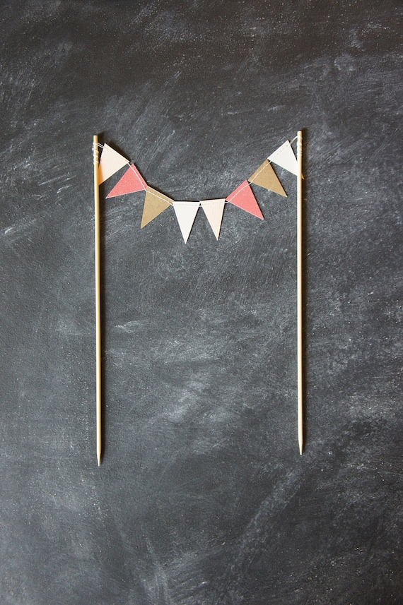 Cake Bunting - Summer - Coral, Sand, Kraft, Peach