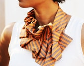 Made to Order Orange Stripe Silk Necktie Katherine Scarf