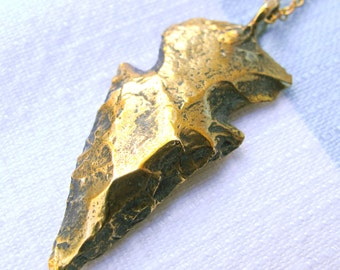 Solid Brass Arrowhead Necklace