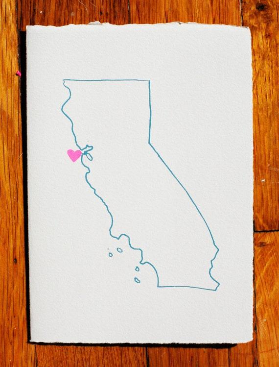 I Heart California Blank Greeting Card