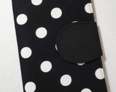 Made to Order, eReader Cover, Kindle Cover, Kindle Fire, Kindle Touch,  Book Style, Black and White Polka Dot