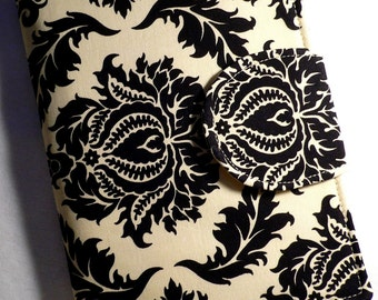 Kindle Cover, Kindle Paperwhite,  iPad Mini,  Book Style, Damask Black , Kindle Touch Cover, Kindle Fire Cover,