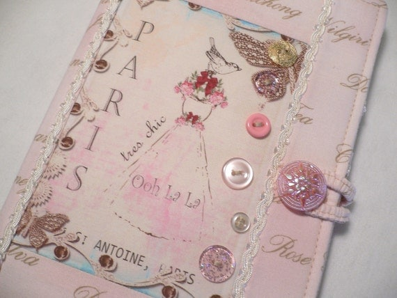Kindle Fire Cover,  Book Style, Shabby Pink in Paris ,  ( Ready to Ship)