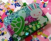 Tortoise and the Hare Kawaii resin pendant Glow in the dark NO CHAIN