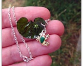 Regal The Frog - A layered necklace with handmade lily pad and little frog charm.