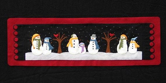 Snowman Table Runner Wool Applique PATTERN