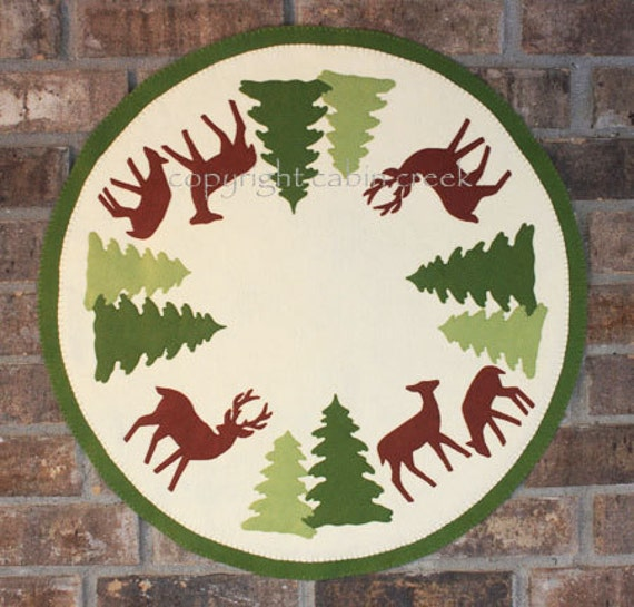 Deer and Pine Trees Wool Applique  PATTERN