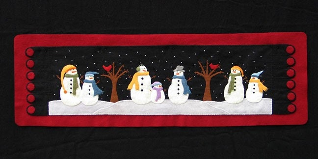 Snowman Table Runner Wool Applique PATTERN from cabincreek on Etsy ... : snowman quilt patterns applique - Adamdwight.com