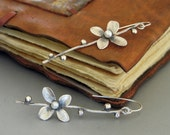 Silver Flower branch dangle Earrings with Pearl