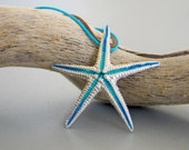 Large Turquoise Starfish Sterling Silver Pendant