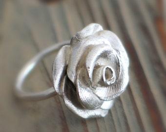 Rose Sterling Silver Ring, Rose flower ring, Statement Rose ring