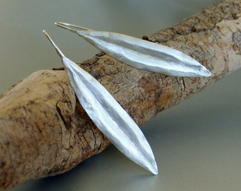 Olive-tree leaf sterling silver earrings