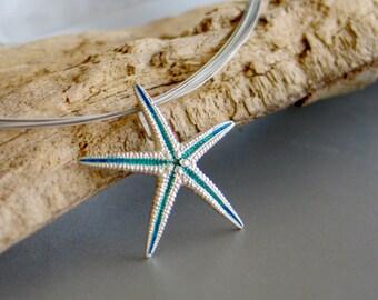 Turquoise Starfish Sterling Silver Pendant, Medium