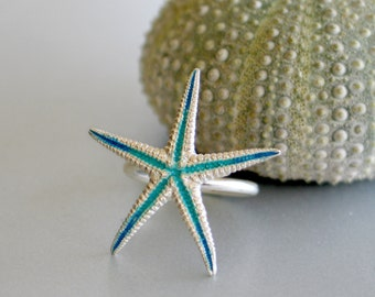 Turquoise Starfish Sterling Silver Ring - Small