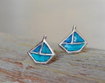Little boats sterling silver post earrings