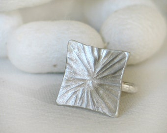 Hammered square Silver Ring