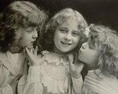 Vintage real photo postcard, 3 girls, 1910-1920