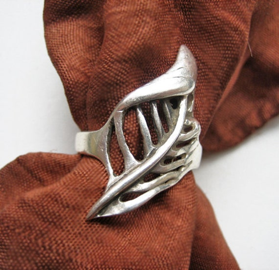 Vintage sterling leaf ring, Denmark, 1960