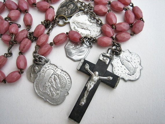 Antique rosary, glass beads with attached medals, 1930s