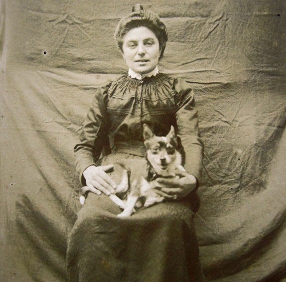 Antique dog and lady photograph / Cabinet Card, 1900s