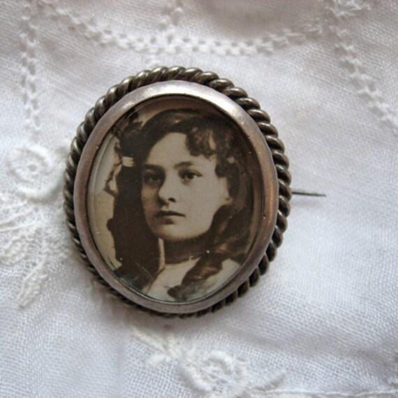 RESERVED for Vintagetraveler  - Antique photo brooch, sterling and glass - please do not buy unless you're Vintagetraveler