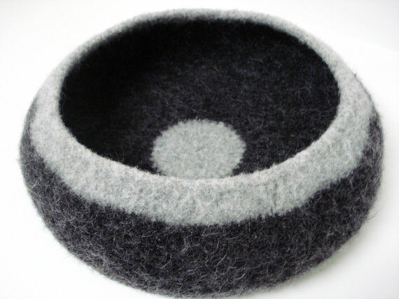 Mod Modern Cat or XL Small Dog Pet Bed Hand Knit Crochet Felted Pet Bed Bowl in Charcoal Gray and Light Gray