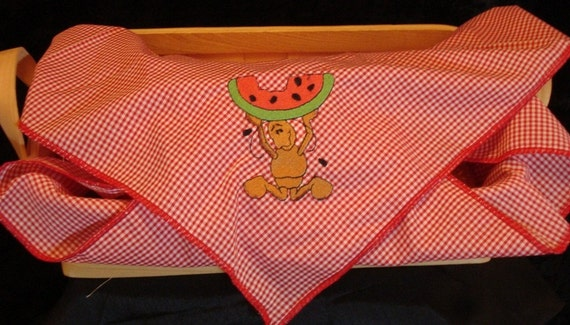 Ant with watermelon bread basket cloth