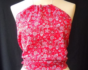 Red Bandana Halter Top, Women and Teens Size 0 to 18