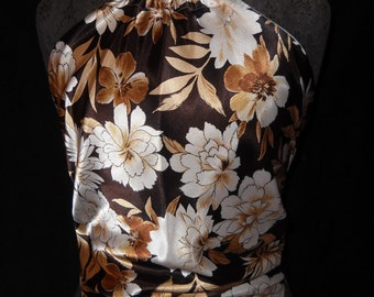 Brown, and Gold Flowers on Soft Satin Material Halter Top, Fits Women and Teens Size 0 to 12