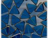 Hand polished Window Czech Beads in Pretty Dark Aqua 12mm triangular beads