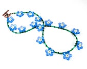 Handcrafted Forget Me Not Beaded Necklace