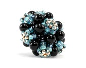 Handcrafted Black and Ice Blue Donut Beaded Bead