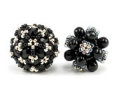 Handcrafted Black and Silver Beaded Bead Set