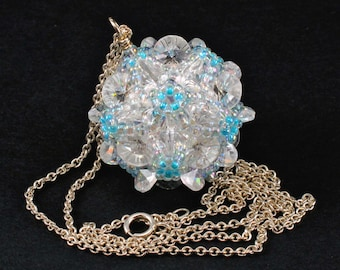 Handcrafted Crystal and Light Blue Beaded Pendant