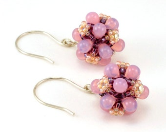 Handcrafted Pink and Purple Teardrop Beaded Earrings