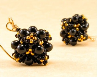 PRICE REDUCED 25 PERCENT Handcrafted Black&Gold Earrings