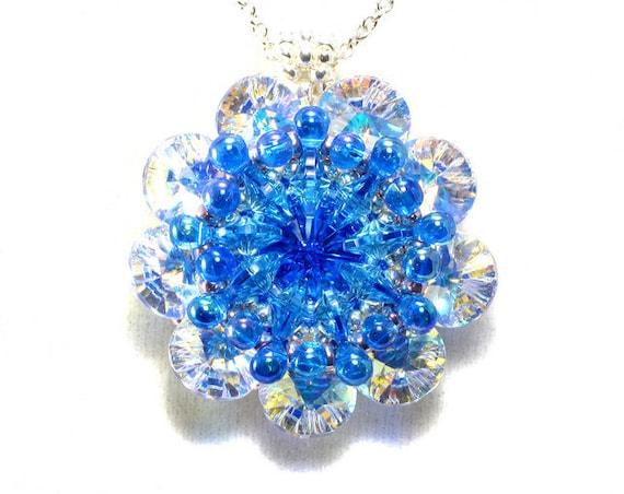 Handcrafted Sapphire Crystal Kaleidoscope Pendant