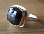 Handmade Obsidian ring with 14K gold and sterling