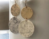 Large Disc Earrings in Sterling Silver and 14K Gold Fill Modern Texture