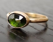 Green Tourmaline Ring in 14k Gold - Rose Cut Free Form Pine Green Gemstone