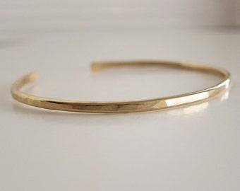 Gold Cuff Bracelet - Gold Stacking Cuff - Stackable Cuff Bracelet - Cuff Bracelet in Gold - Hammered Texture - Stacking Bracelet