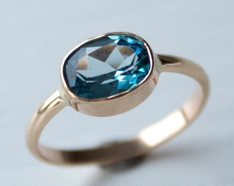 Swiss Blue Topaz Ring - Topaz and Gold Ring - Recycled 14k Gold Ring - Feminine Topaz Ring - Ready to Ship Ring