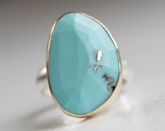 Turquoise Ring in Recycled 14k Gold and Sterling Silver - Gold and Turquoise Ring - Silver and Turquoise Ring - Free Form Rose Cut Stone