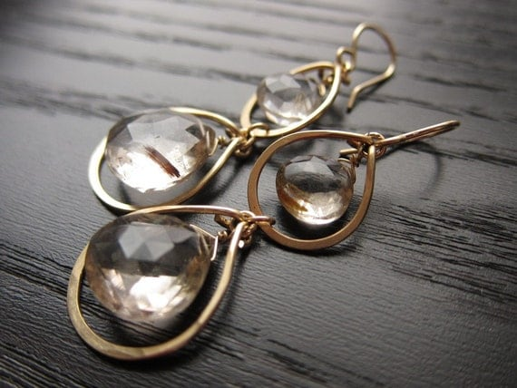 RESERVED for Ashley - Rutilated Quartz in Gold Teardrop Earrings